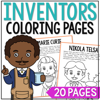 Famous Inventors Coloring Pages or Posters with Short Biog