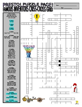 Famous Inventors Puzzle Page (Wordsearch and Criss-Cross)
