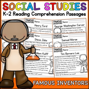 Famous Inventors Reading Comprehension Passages (K-2) - Social Studies