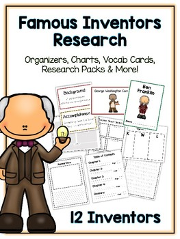 Famous Inventors Research Project - 12 People Vocab Cards, Packet, Book + More!