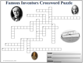 Famous Inventors in History Crossword Puzzle Activity Worksheet