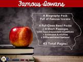 Famous Iowans Biography Close Reads Pack