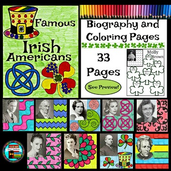 Famous Irish Americans Biography and Coloring Set Great for March