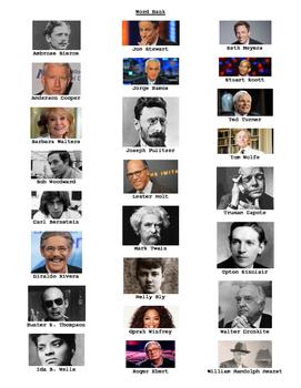 Famous Journalists Crossword Puzzle