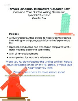 Famous Landmark Informative/Research Text for Special Education