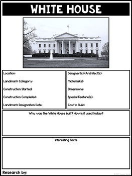 Famous Landmarks Around the World Research Project-Graphic Organizers