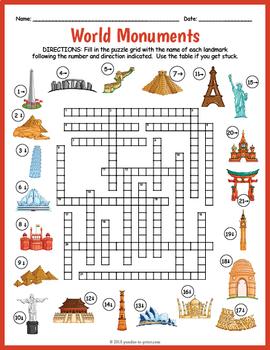 Famous Landmarks Crossword Puzzle