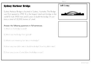 FAMOUS LANDMARKS - Cut and Paste Cloze Passages, Reading Comprehension (HASS)