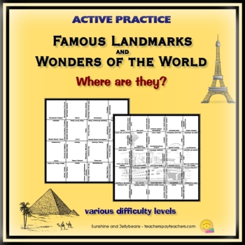 Famous Landmarks & Wonders of the World - Active Practice -Square Jigsaw Puzzles