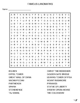 Famous Landmarks Word Search!