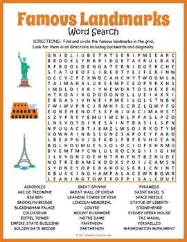 famous landmarks word search puzzle by puzzles to print tpt. Black Bedroom Furniture Sets. Home Design Ideas
