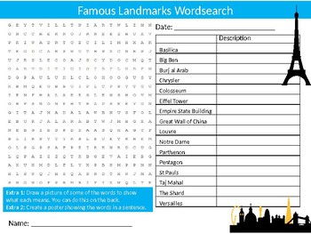 Famous Landmarks Wordsearch Sheet Geography Starter Activity Keywords