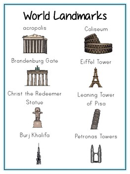 Famous Landmarks Writing Word Thematic Folder - Picture Word Wall