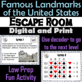 Famous Landmarks of the United States Activity: Escape Room Geography