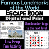 Famous Landmarks of the World Activity: Escape Room Geography