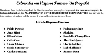 Famous Latinos Interviews a Project for Spanish 1