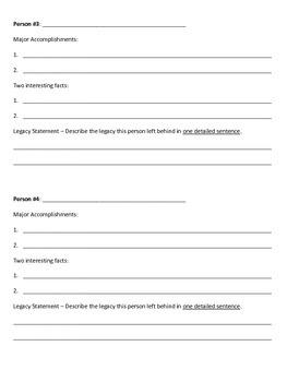 Famous Legacies Worksheet