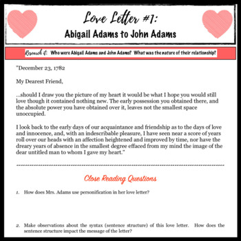 Famous Love Letters: A Close Reading & Creative Lesson for Valentine's Day