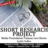 Valentine's Day Short Research Project, Famous Love Stories, Media Presentation