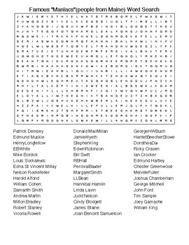 """Famous """"Maniacs""""(people from Maine) Crossword&WordSearch with KEYS"""