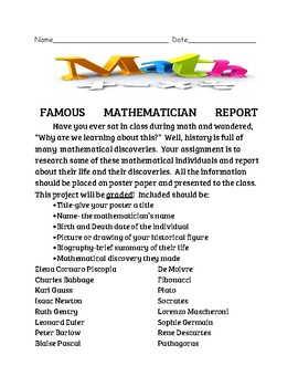 Famous Mathematician Report