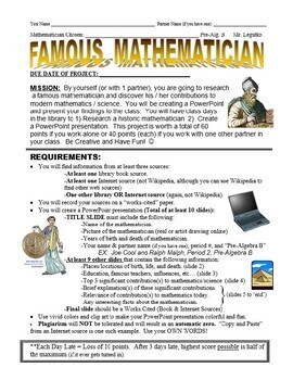 Famous Mathematician Research & PowerPoint Project