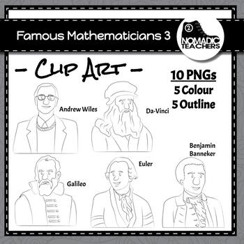 Famous Mathematicians Clip Art Pack 3 - 10 PNGS
