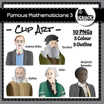 Famous Mathematicians Clip Art Pack 3 - 10 PNGS