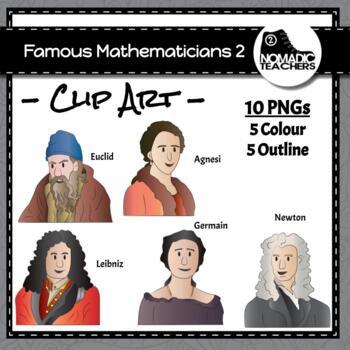 Famous Mathematicians Clip Art Pack 2 - 10 PNGS