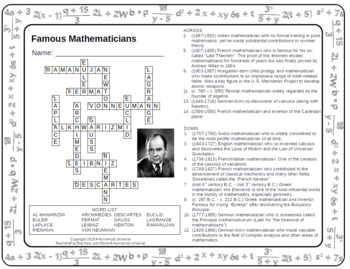 Famous Mathematicians Crossword Puzzle
