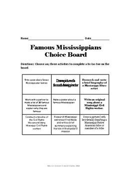 Famous Mississippian Choice Board