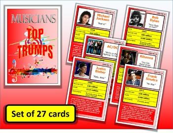 Famous Musicians Top Trumps Card Game set of 27 PUB Music Lessons