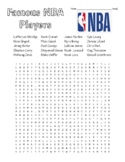 Famous NBA Players - Basic Wordsearch w KEY/ Zentangles to