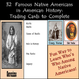 Famous Native Americans in American History Biography Cards to Complete