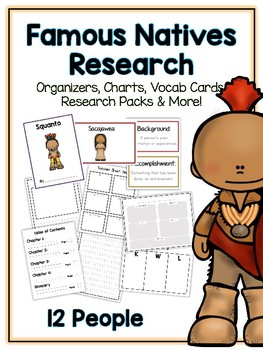 Famous Natives Research Project -12 People Vocab Cards, Packet, Book & More