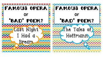 Famous Opera or Bad Poetry? Game