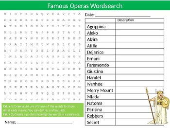Famous Operas Wordsearch Sheet Starter Activity Keywords Cover Music
