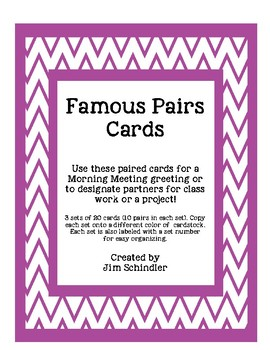 Famous Pairs Card Sets