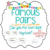 Famous Pairs Game Cards   EOY   Party   Icebreaker  