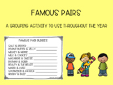 Famous Pairs Grouping Activity