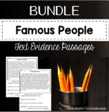 Famous People Biographies Close Reading Text Evidence Passages Bundles