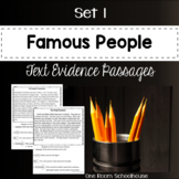 Famous People Biographies Close Reading Text Evidence Passages Set 1