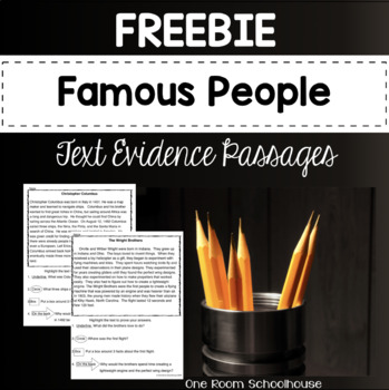 Famous People Biographies Close Reading Passages-FREEBIE
