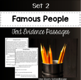 Famous People Biographies Close Reading Text Evidence Passages Set 2