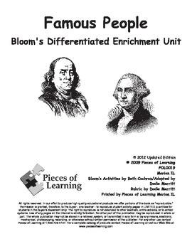 Famous People - Differentiated Blooms Enrichment Unit