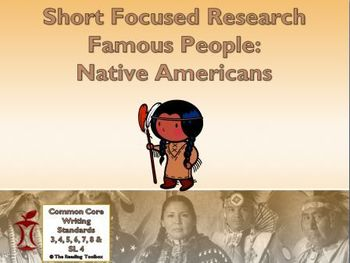 Famous People: Native Americans Short Focused Research Lit