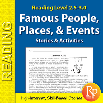 Famous People, Places, & Events Stories & Activities (Reading Level 2.5-3.0)