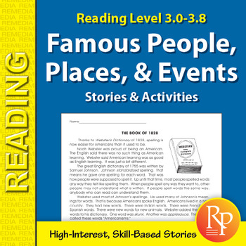 Famous People, Places, & Events Stories & Activities (Reading Level 3.0-3.8)