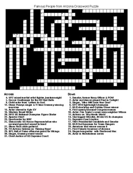 Famous People from Arizona Crossword & Word Search with KEYS
