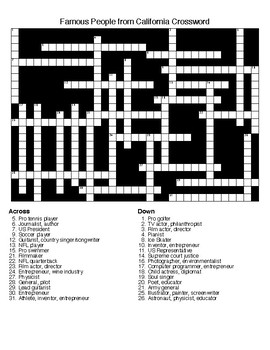 Famous People from California Crossword & Word Searches w/KEYS